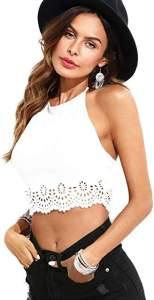 Bohemian hippie style white halter top